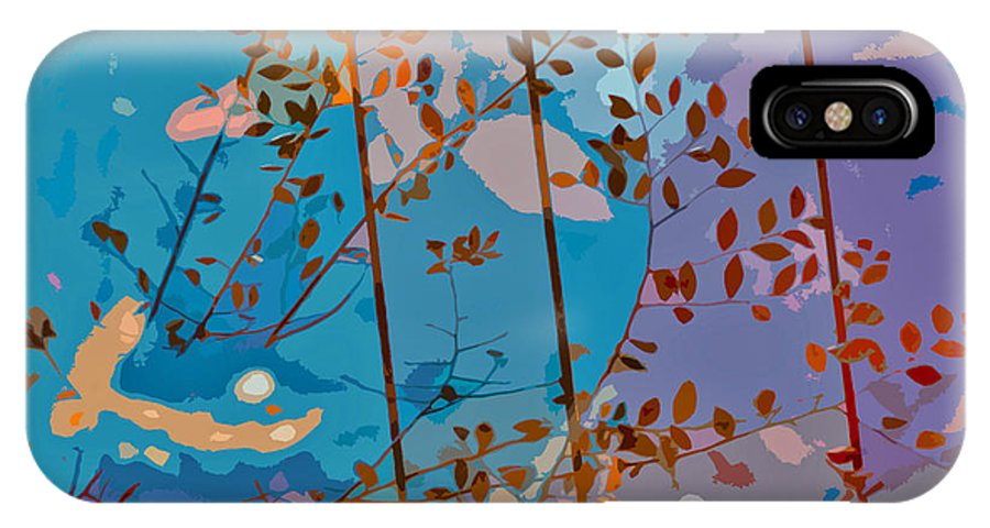 Leaves IPhone X Case featuring the painting Leaves And Wire by Stephen Anderson