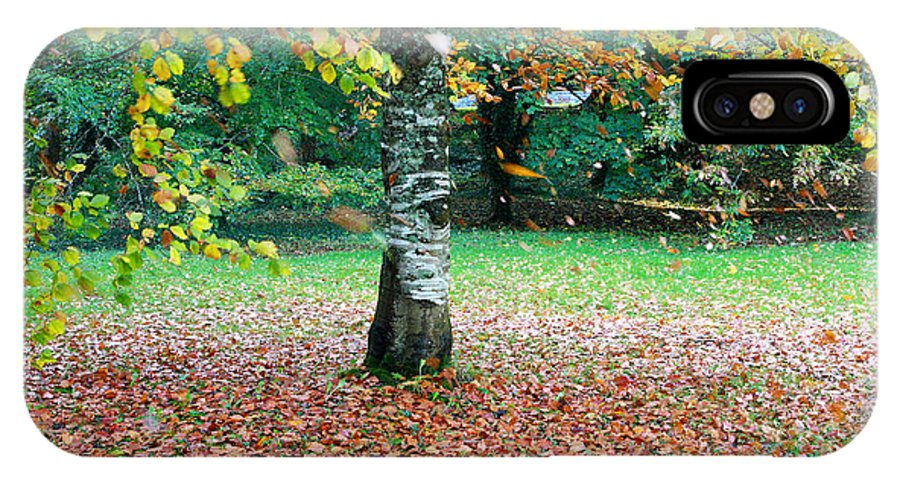 Leaves IPhone X Case featuring the photograph Leaves Blowing Off The Autumn Tree by Pierre Leclerc Photography