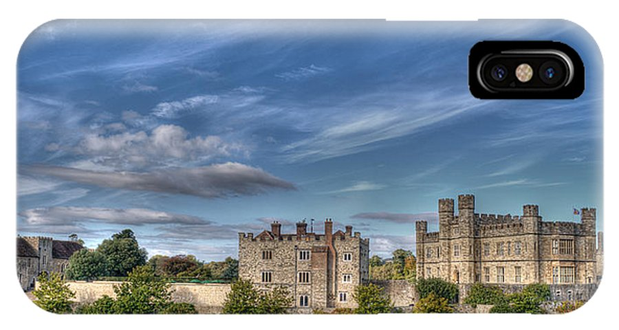 Leeds Castle IPhone X / XS Case featuring the photograph Leeds Castle And Moat Rear View by Chris Thaxter