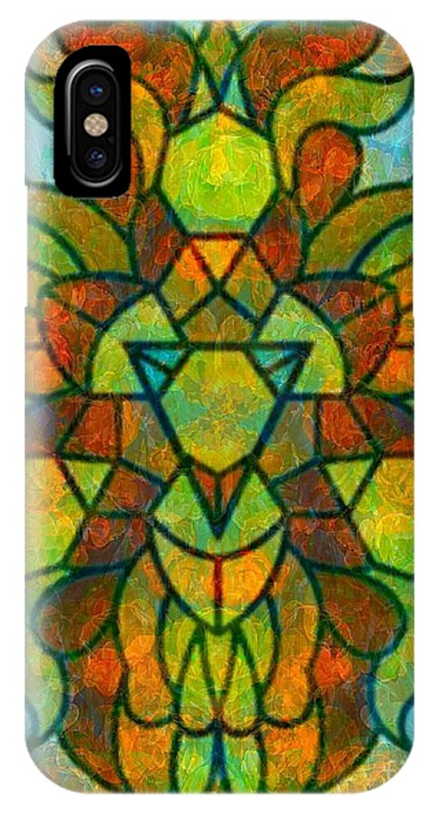 Abstract IPhone X / XS Case featuring the digital art Legacy Lion Celebration2 by Trent Jackson
