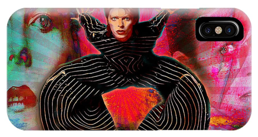 Bowie IPhone X / XS Case featuring the digital art Legend Of Bowie by Greg Sharpe