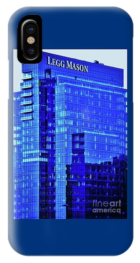 Architectural Art Windows Baltimore Landmark Outdoors Color Blue Office Building Serene Harbor East No One Company Logo Iconic Vertical Vision Reflections Metal Frame Canvas Print Poster Print Available On Greeting Cards Phone Cases T Shirts Tote Bags And Mugs IPhone X Case featuring the photograph Legg Mason Blue by Marcus Dagan