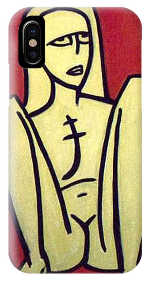 Nude IPhone X Case featuring the painting Legs by Thomas Valentine