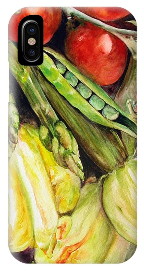 Still Life IPhone X Case featuring the painting Legumes by Muriel Dolemieux