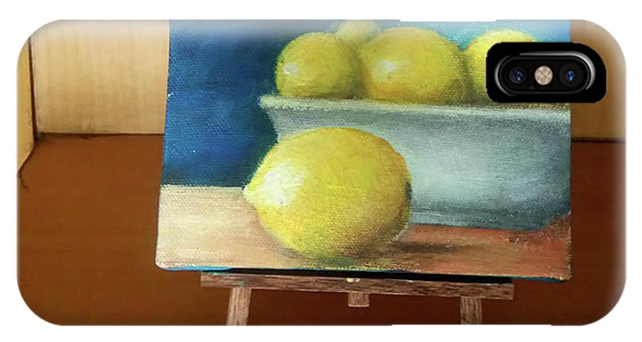 Mini Acrylic Painting IPhone X Case featuring the painting Lemons by My Caguioa