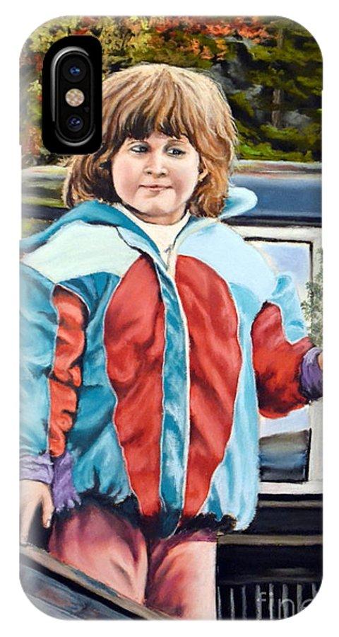 Portrait IPhone X Case featuring the pastel Lena At 3 by John Huntsman