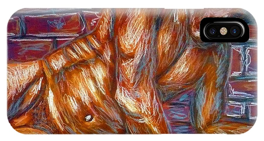 Nude IPhone X Case featuring the painting Lenny by Ericka Herazo