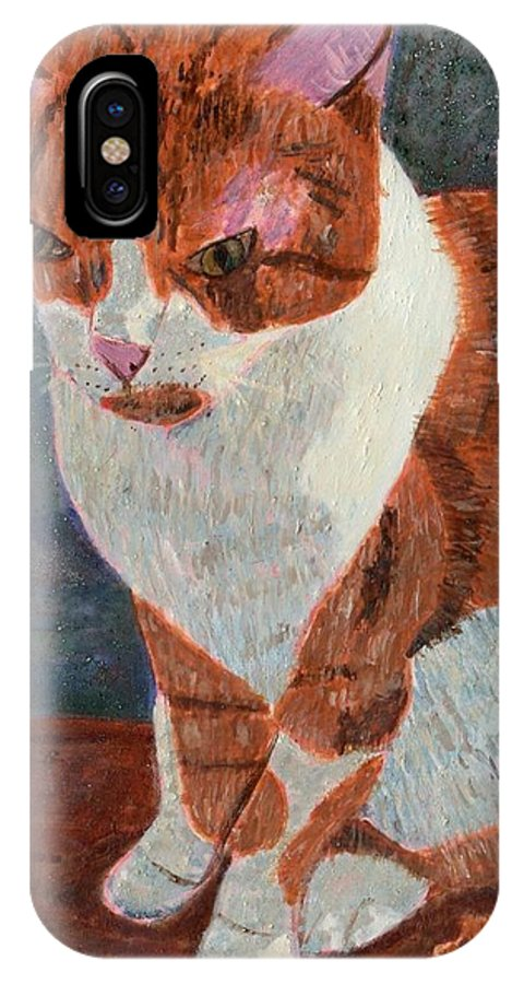 Cat IPhone X / XS Case featuring the painting Leo The Cat by Lizzie Joy Lukens