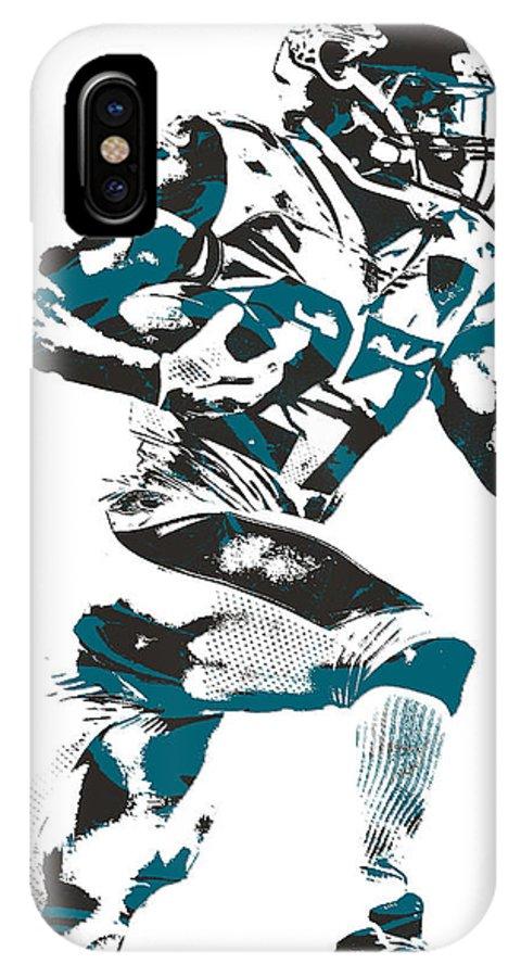 Leonard Fournette IPhone X Case featuring the mixed media Leonard Fournette Jacksonville Jaguars Pixel Art 11 by Joe Hamilton