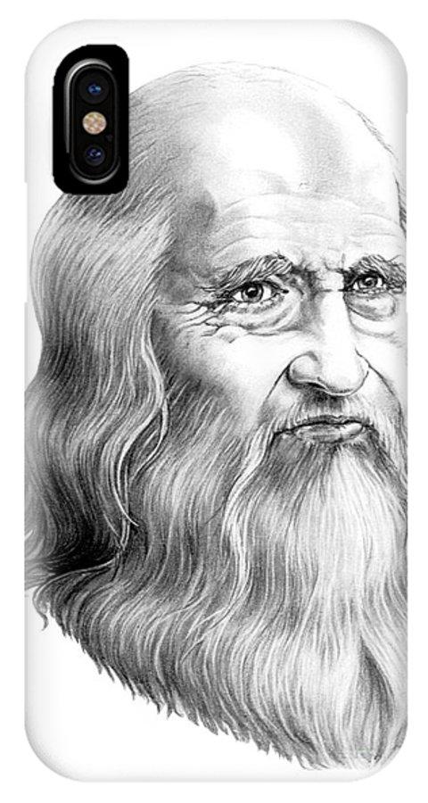 Famous Person IPhone X Case featuring the drawing Leonardo Da Vinci by Murphy Elliott