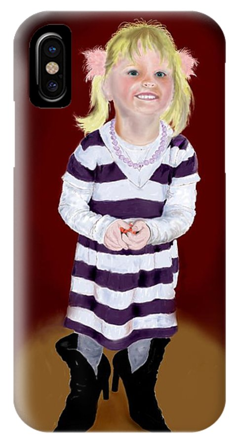 Child IPhone Case featuring the painting Leonies Third Anniversary by Helmut Rottler