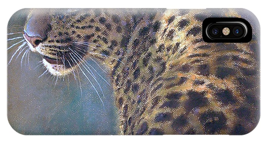 Cats IPhone Case featuring the painting Leopard by Iliyan Bozhanov