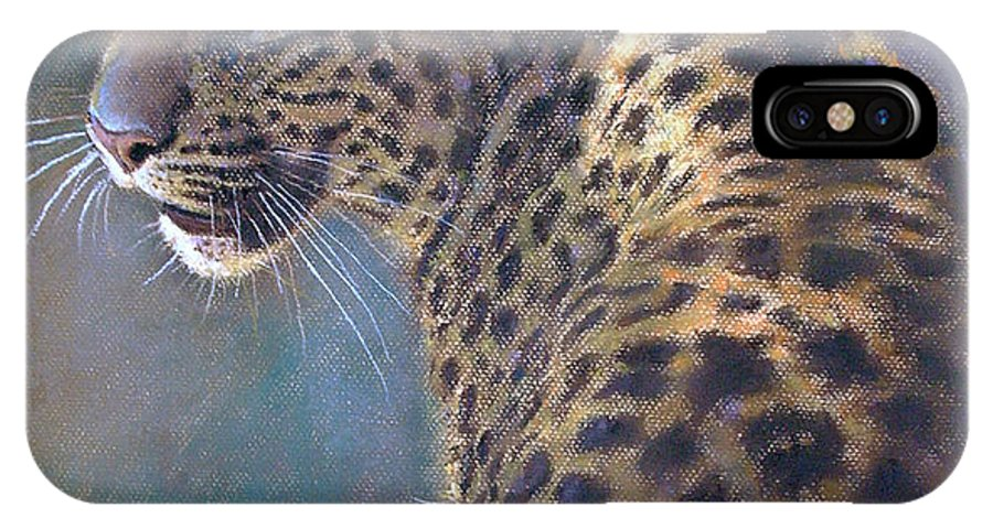 Cats IPhone X Case featuring the pastel Leopard by Iliyan Bozhanov
