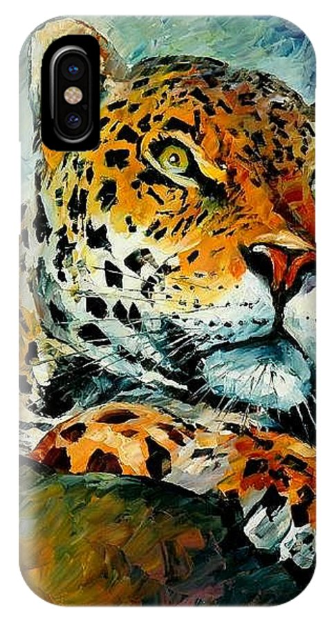 Animals IPhone X / XS Case featuring the painting Leopard by Leonid Afremov