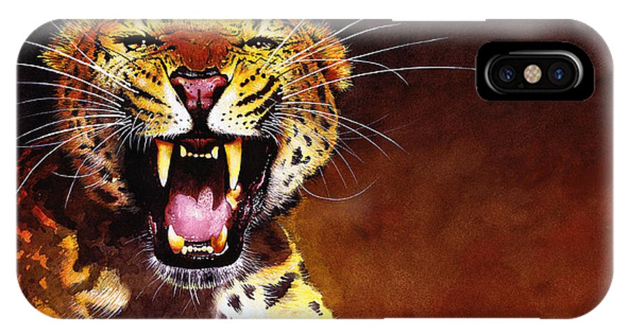 Leopard IPhone Case featuring the painting Leopard by Paul Dene Marlor