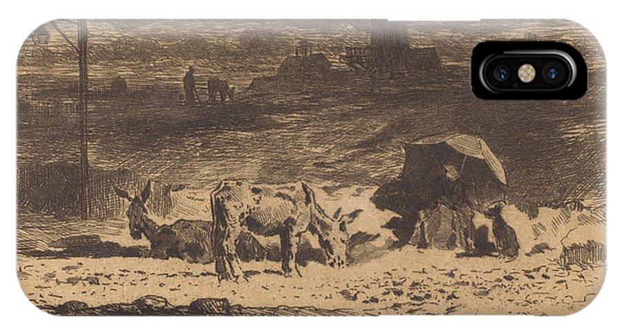 IPhone X Case featuring the drawing Les Anes De La Butte-aux-cailles (donkeys At La Butte-aux-cailles) by F?lix-hilaire Buhot