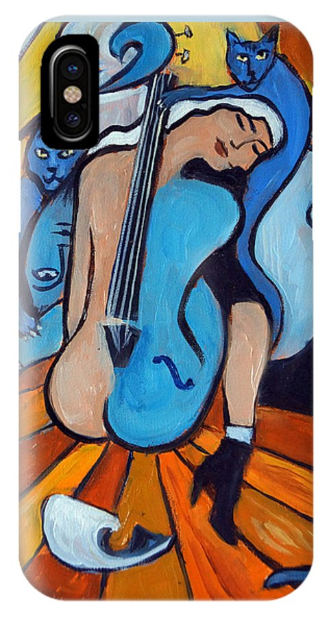 Cubic Abstract IPhone Case featuring the painting Les Chats Bleus by Valerie Vescovi