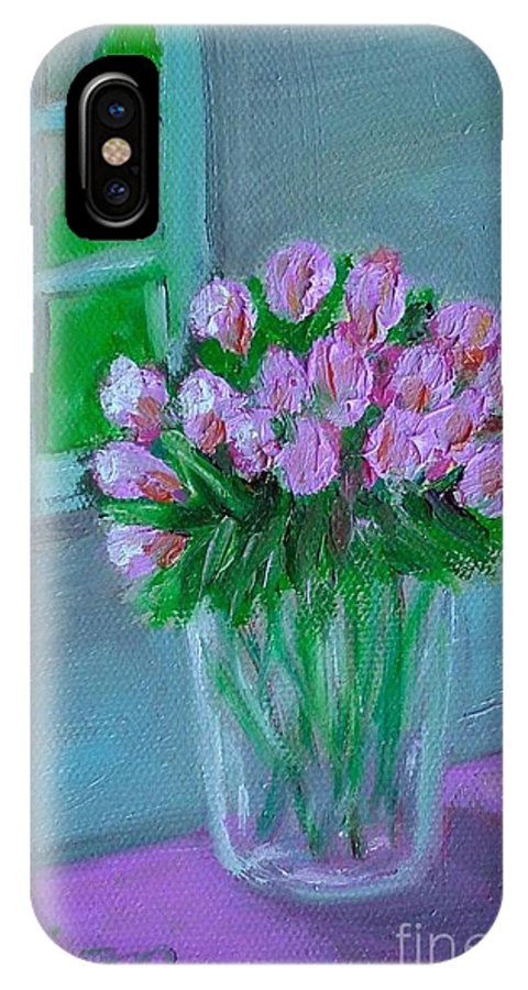 Rose IPhone X / XS Case featuring the painting Leslie's Roses by Laurie Morgan