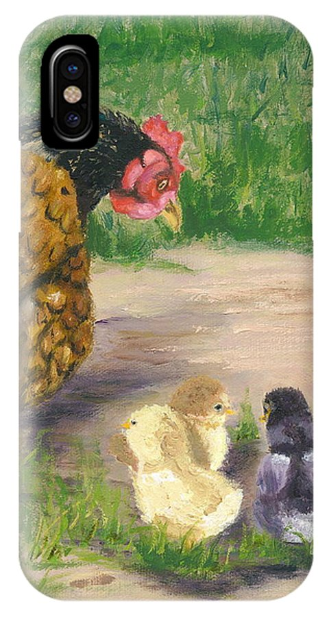 Cickens Chicks Hen Barnyard Bantams Farm Bucolic Nature IPhone X Case featuring the painting Lesson Time by Paula Emery