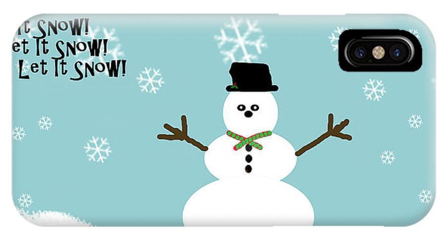 Snow IPhone X Case featuring the digital art Let It Snow by April Cook