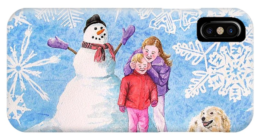 Snowman IPhone Case featuring the painting Let It Snow by Gale Cochran-Smith