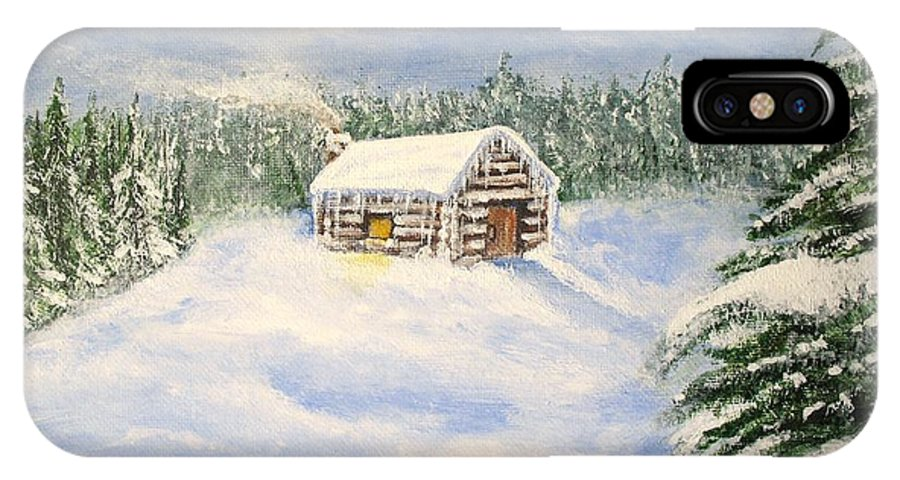 Log Cabin IPhone X Case featuring the painting Let It Snow by Lisa Cini