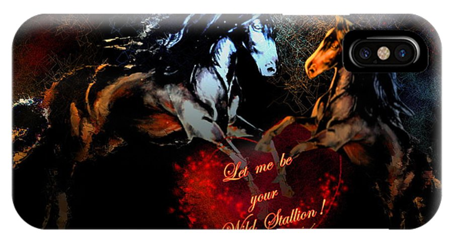 Love IPhone Case featuring the painting Let Me Be Your Wild Stallion by Miki De Goodaboom