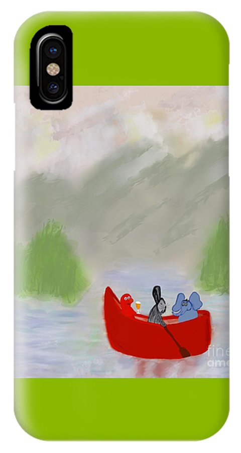 Let's Go Canoeing Illustration IPhone X Case featuring the photograph Let's Go Canoeing by Susan Garren