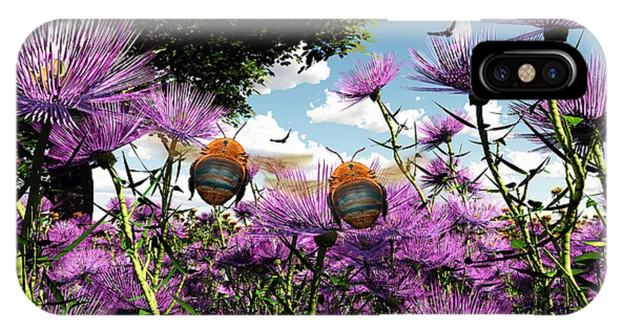 Bloom IPhone X Case featuring the digital art Two Bumblebees Discover The World by Max Steinwald