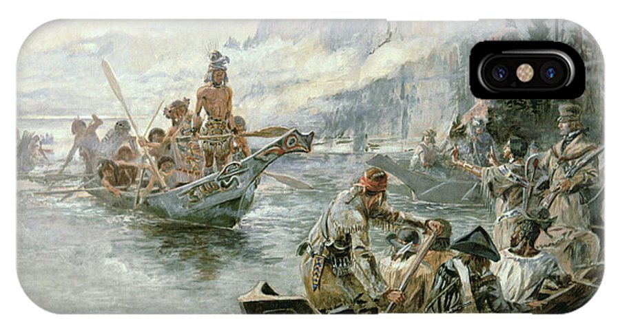 Rivers IPhone X Case featuring the painting Lewis And Clark On The Lower Columbia River by Charles Marion Russell