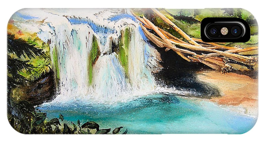 Water IPhone X / XS Case featuring the painting Lewis River Falls by Karen Stark