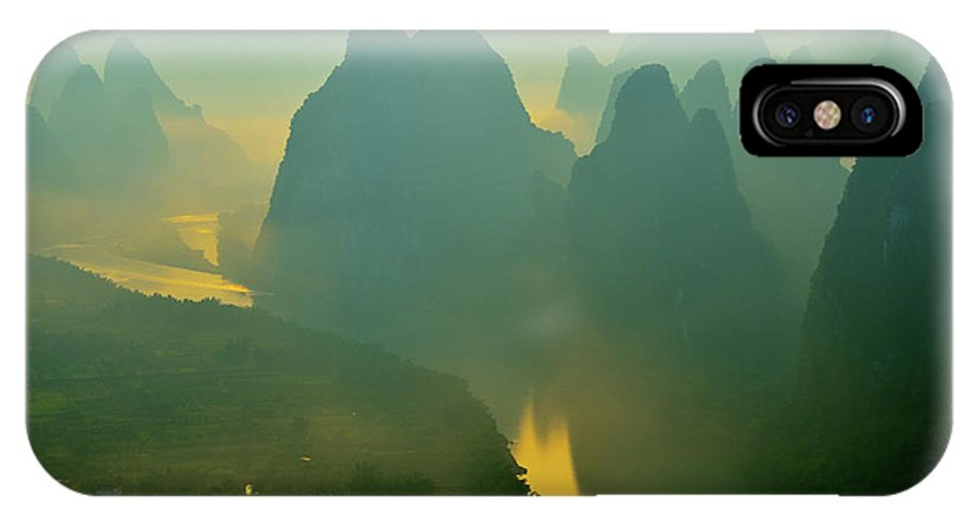 Li River IPhone X Case featuring the photograph Li River At Dawn by Yinguo Huang