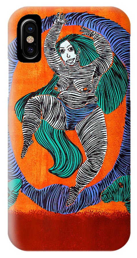 Woman IPhone X Case featuring the painting Lib-460 by Mr CAUTION