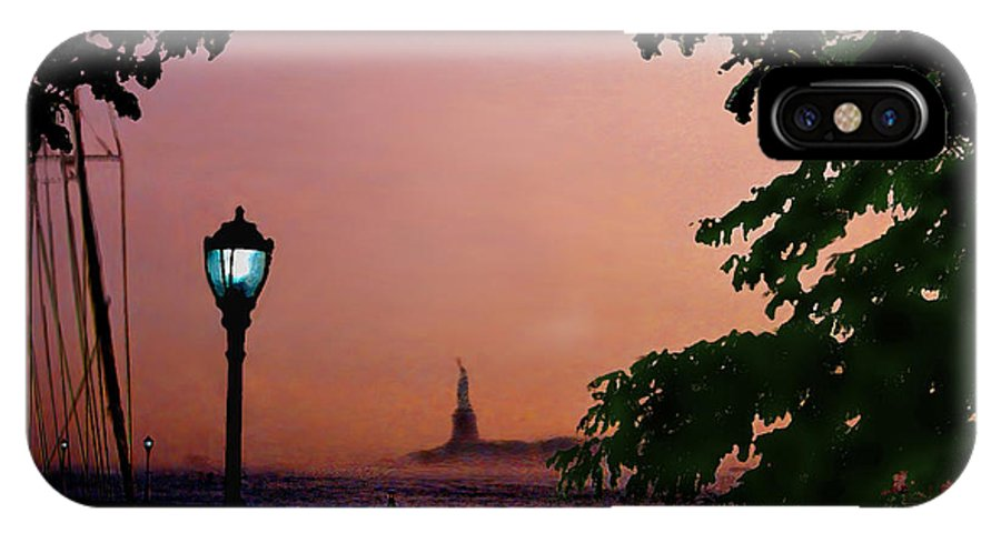 Seascape IPhone X Case featuring the digital art Liberty Fading seascape by Steve Karol