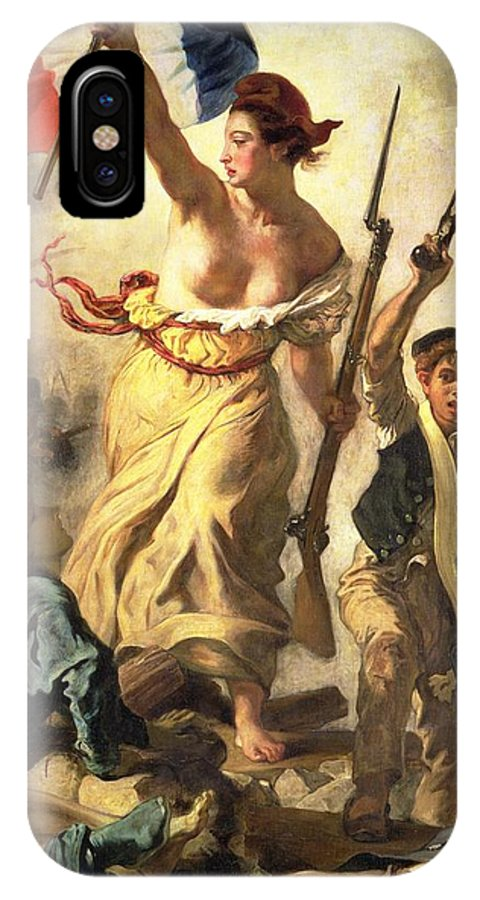 Personification; Female; Bare Breast; Soldier; Bayonet; National Flag; Revolution; Tricolour; Marianne; Freedom IPhone X Case featuring the painting Liberty Leading The People by Ferdinand Victor Eugene Delacroix