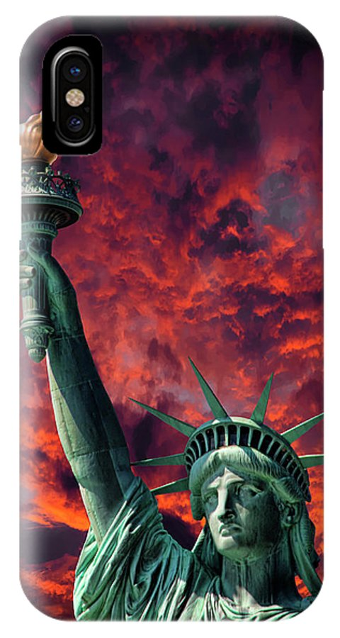 Liberty IPhone X Case featuring the photograph Liberty On Fire by Daniel Hagerman