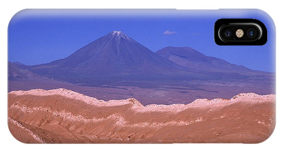Chile IPhone X Case featuring the photograph Licancabur Volcano Seen From The Atacama Desert Chile by James Brunker
