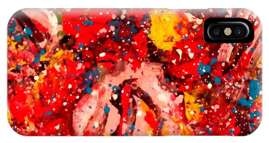 Abstract IPhone X Case featuring the painting Life Force by Natalie Holland