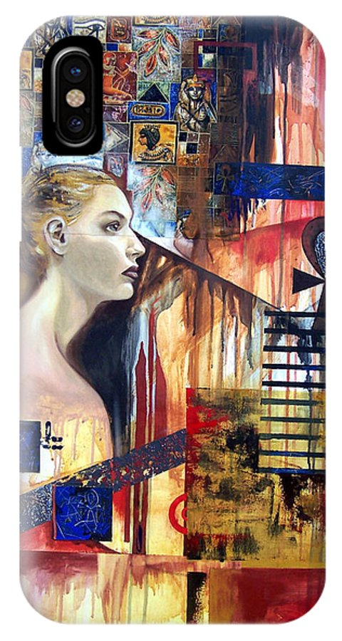 Profile Of A Woman IPhone X Case featuring the painting Life In The Past by Leyla Munteanu