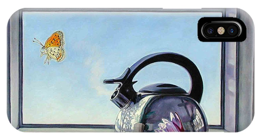 Steam Coming Out Of A Kettle IPhone X Case featuring the painting Life Is A Vapor by John Lautermilch