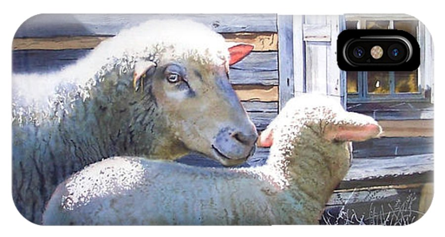 Sheep IPhone X Case featuring the painting Life Renewed by Denny Bond