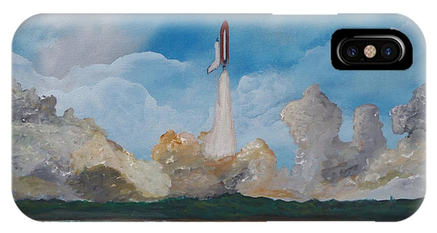 Space Shuttle IPhone X Case featuring the painting Liftoff by Tony Rodriguez