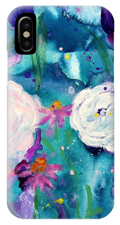 Flowers IPhone X Case featuring the painting Light by Amber Carter