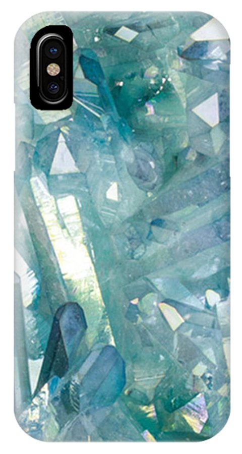 Sparkling Light Blue Crystal Shards IPhone X Case featuring the photograph Light Blue Crystals by The Quarry