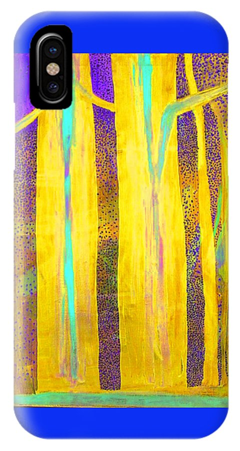 IPhone X Case featuring the painting Light In The Forest by Jarle Rosseland
