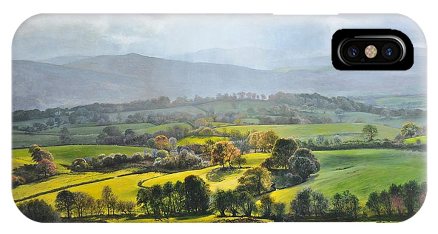 Wales IPhone X Case featuring the painting Light In The Valley At Rhug. by Harry Robertson