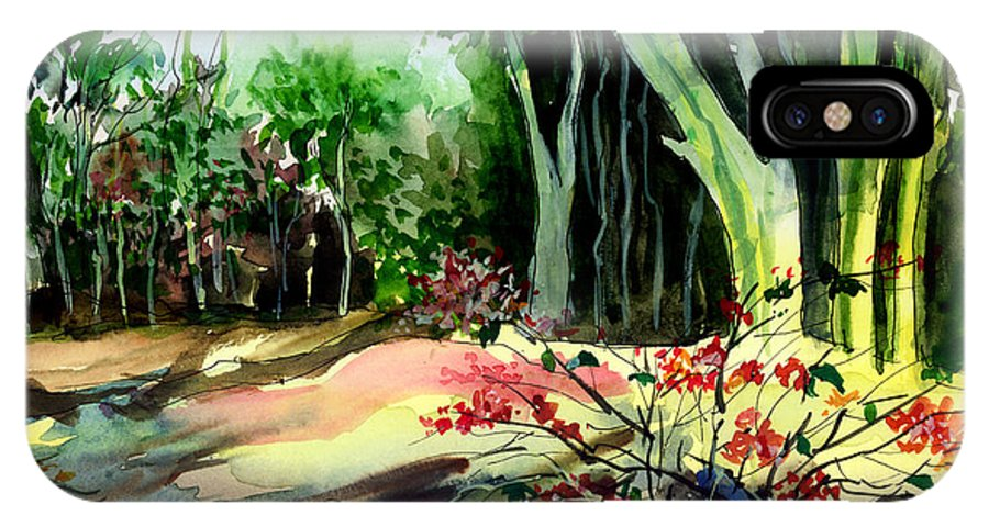 Watercolor IPhone X Case featuring the painting Light In The Woods by Anil Nene