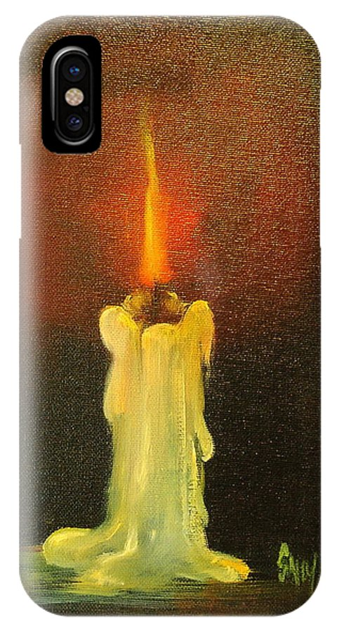 Candles IPhone X Case featuring the painting Light The Way by Sally Seago