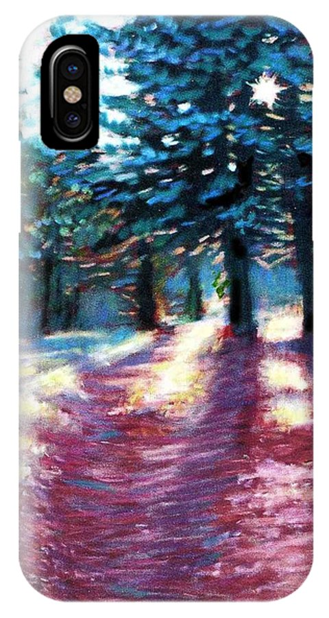 Tall Pine Trees IPhone X / XS Case featuring the painting Light Through The Pines by Julie Mayser