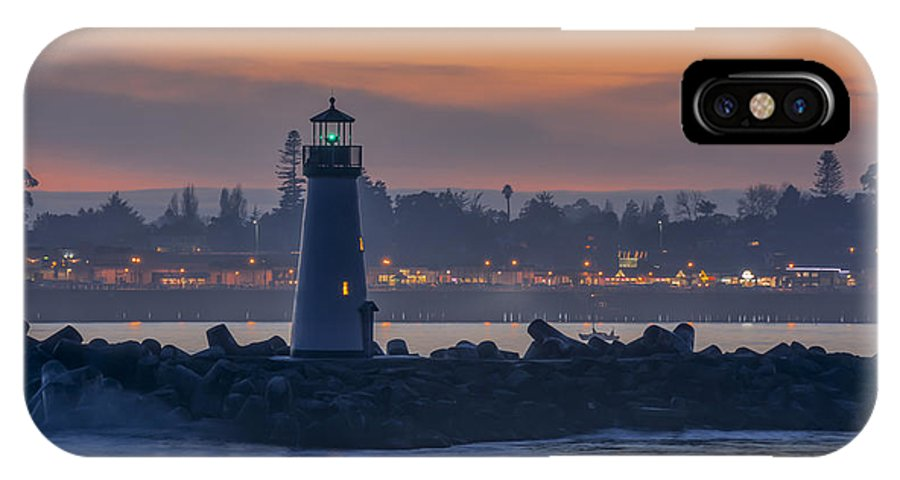 Sunset IPhone X Case featuring the photograph Lighthouse And Wharf At Dusk by Bruce Frye